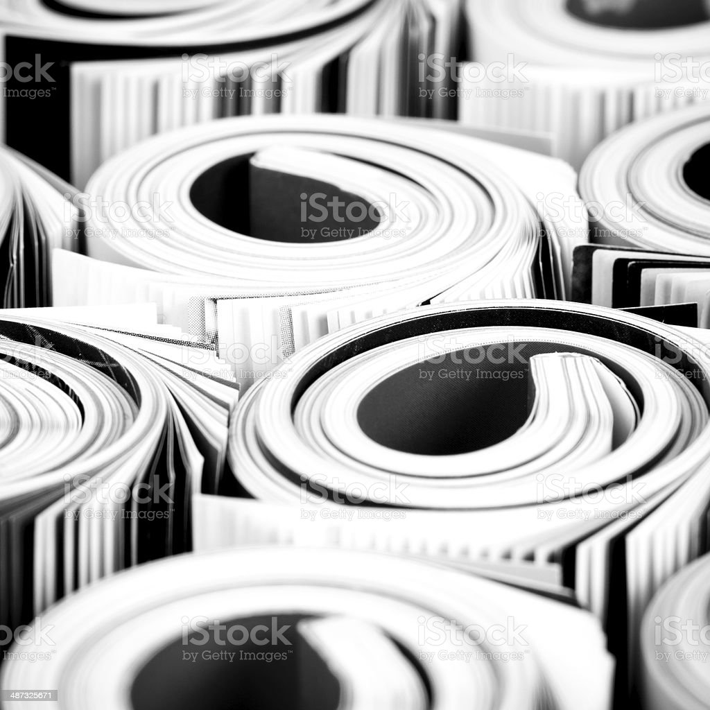 Colorful magazines up close royalty-free stock photo