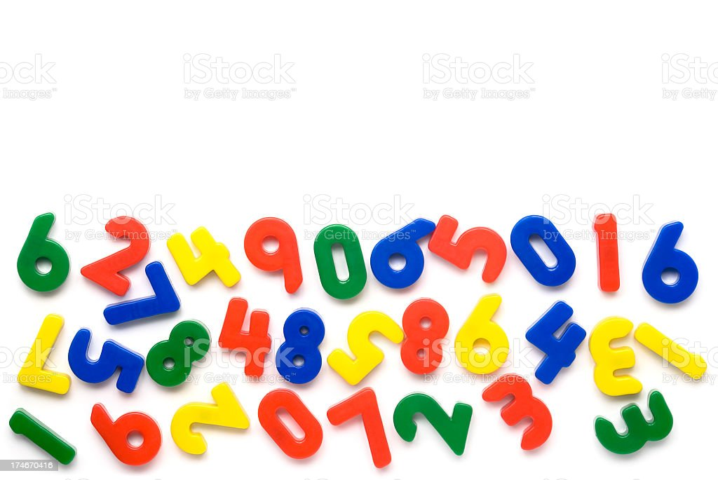 Colorful magnetic numbers on white background stock photo