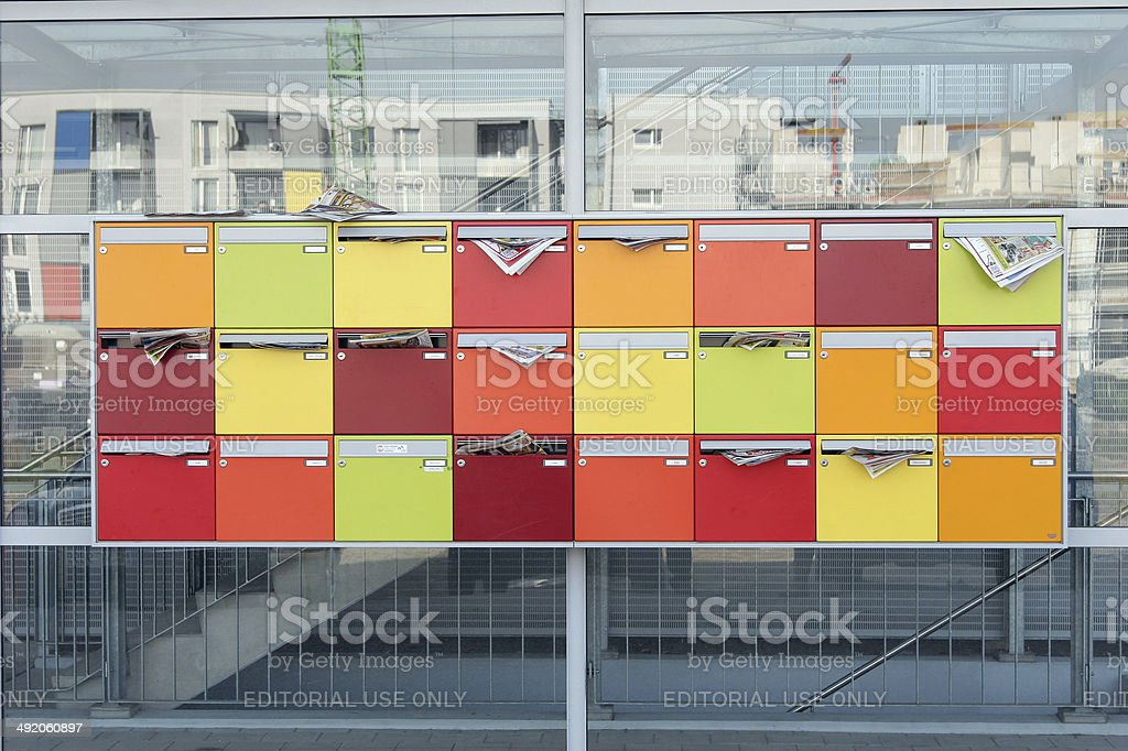 colorful mailboxes stock photo