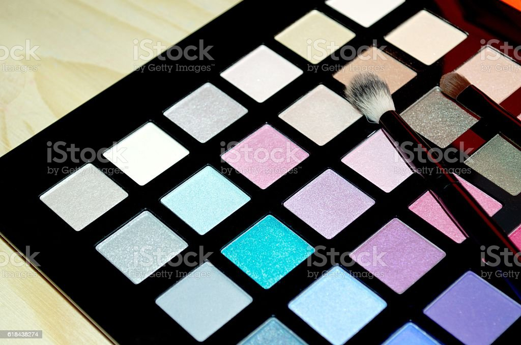 Colorful make up palette stock photo