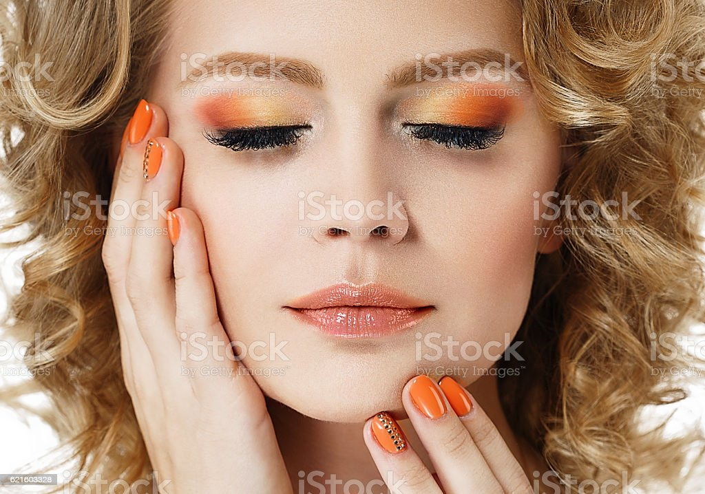 Colorful make up shadows and nails woman beauty portrait stock photo