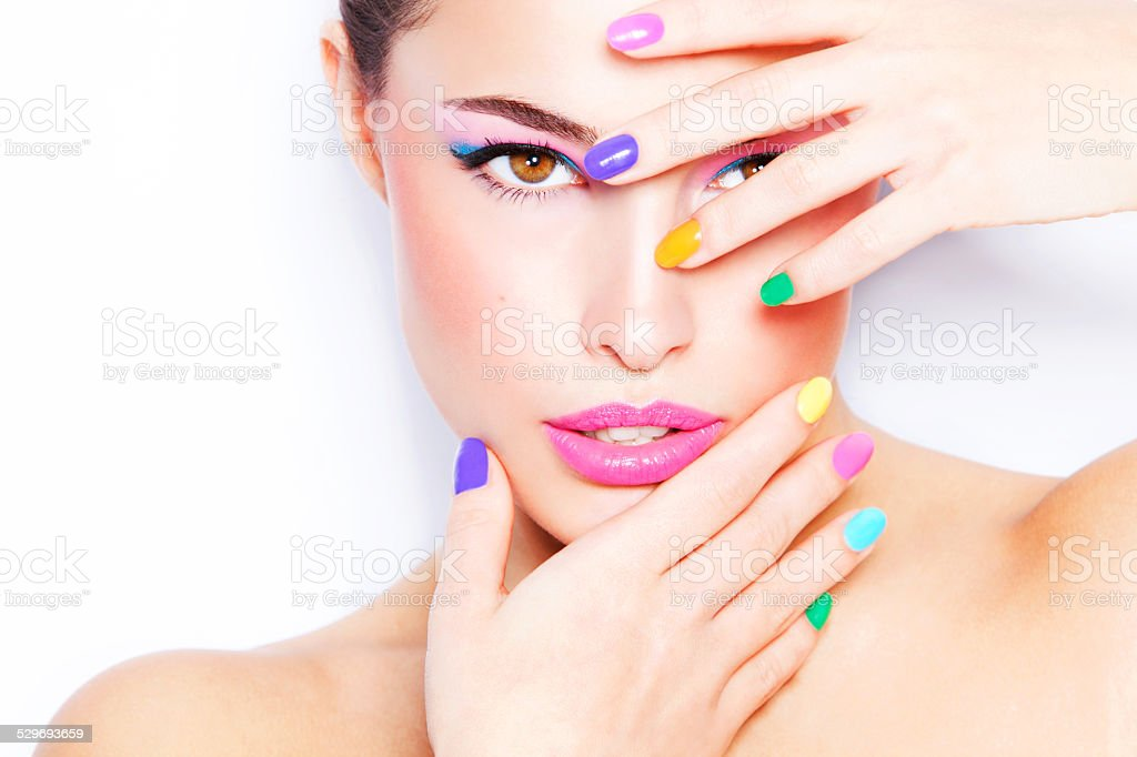 colorful makeup stock photo