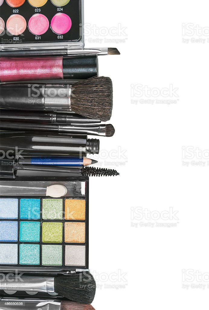 Colorful make-up products stock photo