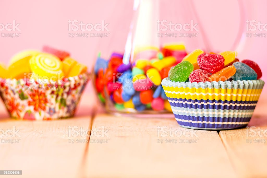 Colorful many sweet Jelly, flavor fruit, heart-shaped stock photo