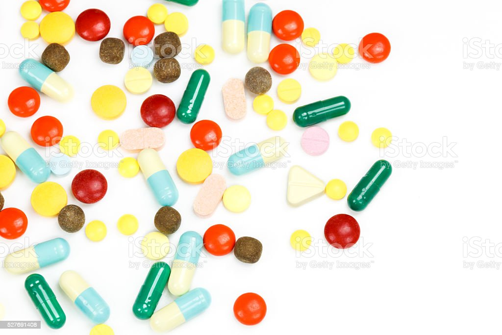 Colorful many tablets ,pills and pill capsules. stock photo