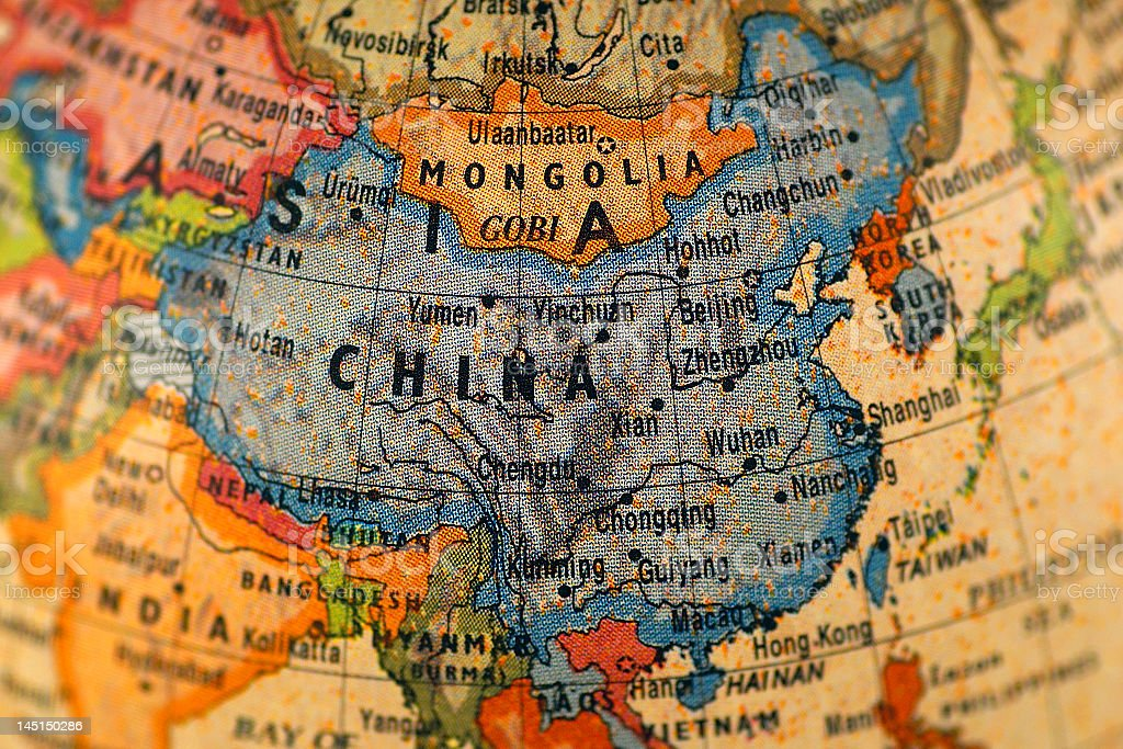 A colorful map of China and Mongolia stock photo