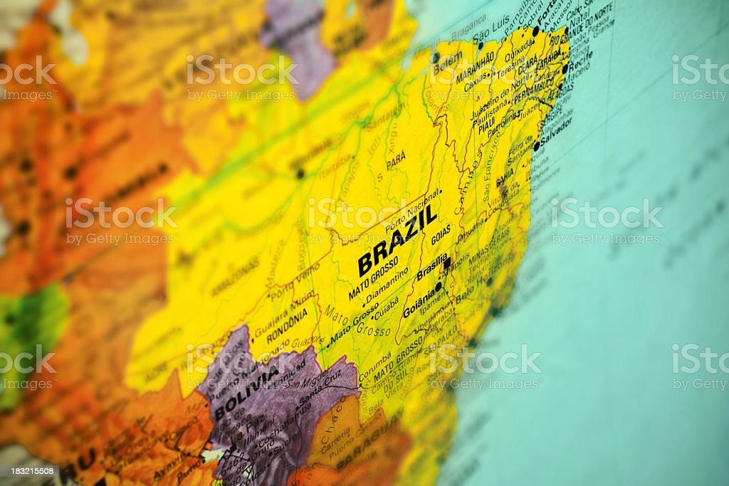 Colorful map of South America showing Brazil stock photo