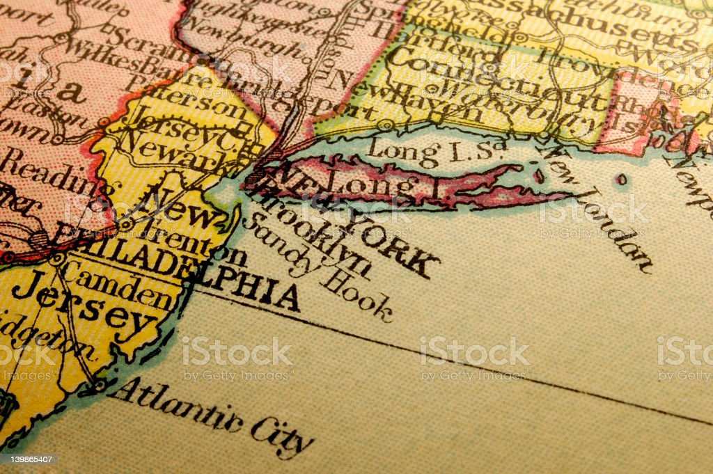 Colorful map of the New England coastline stock photo