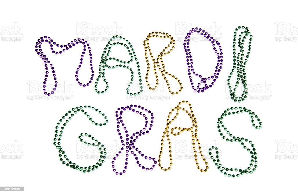 Colorful Mardi Gras beads text stock photo