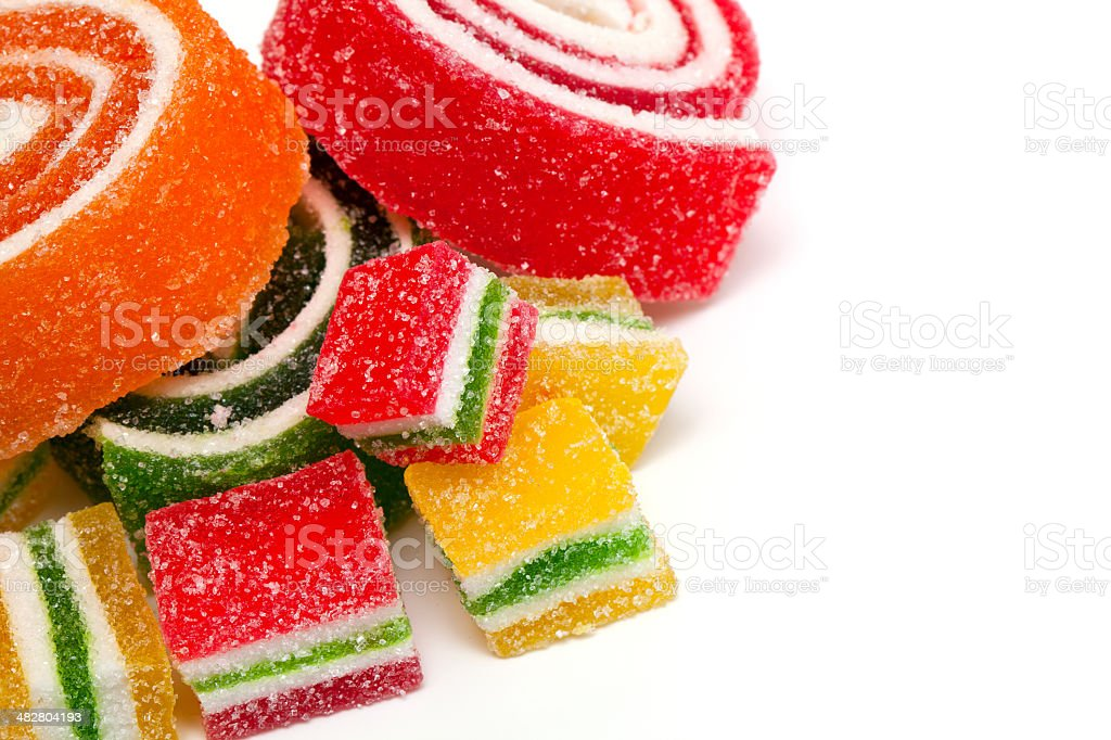 colorful marmelade and empty space for your text stock photo