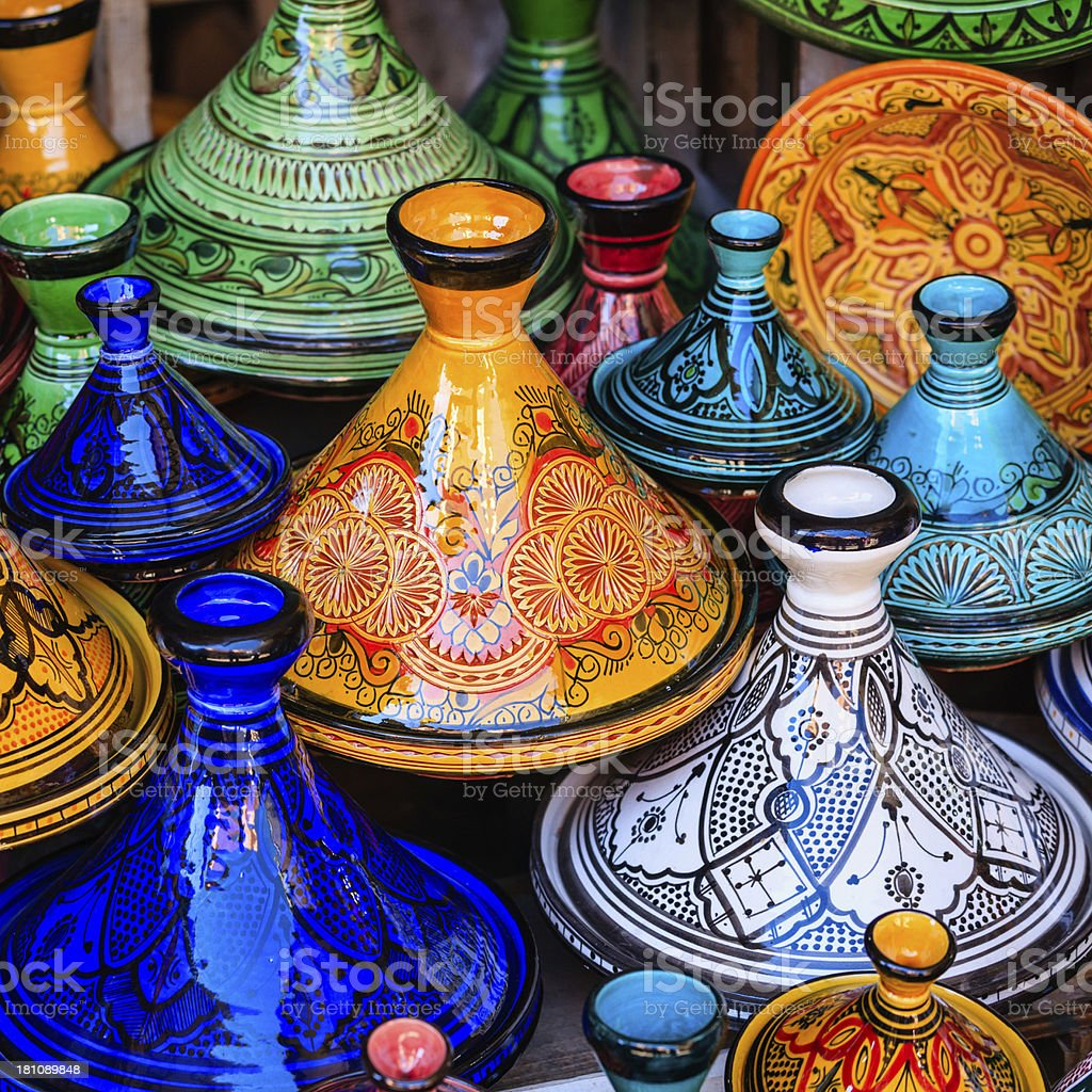 Colorful Maroccan tajine pots at a souk in Marrakech royalty-free stock photo
