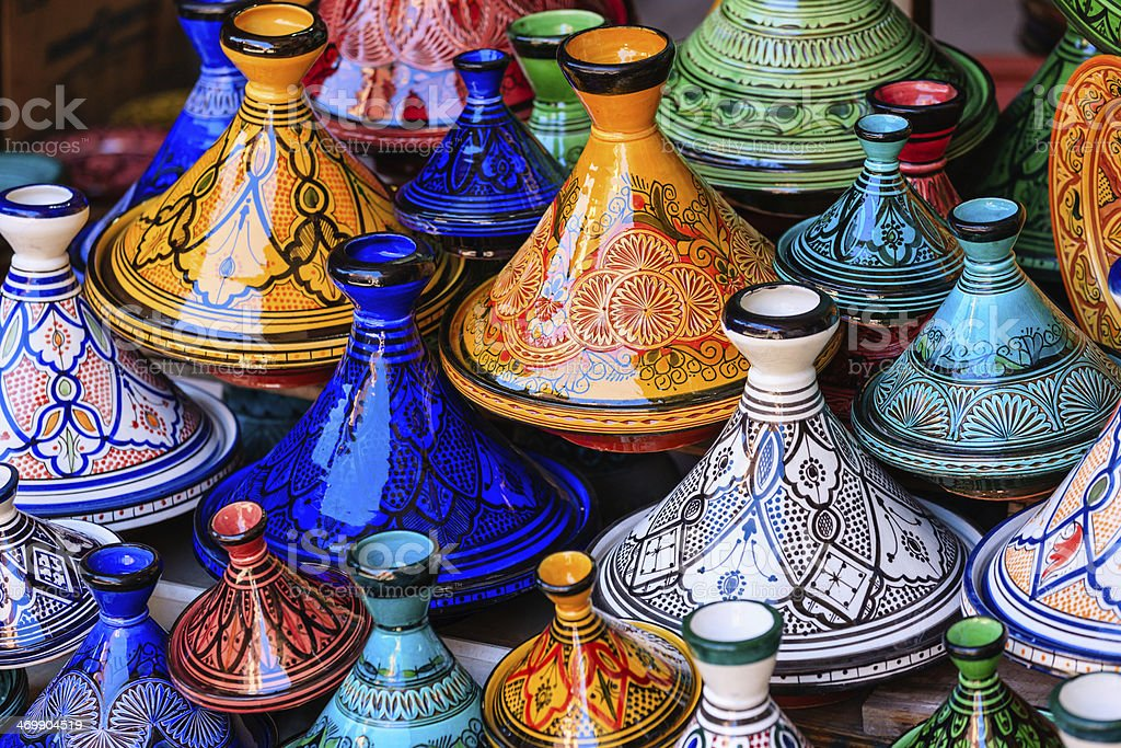 Colorful Maroccan tajine pots at a souk in Marrakech stock photo