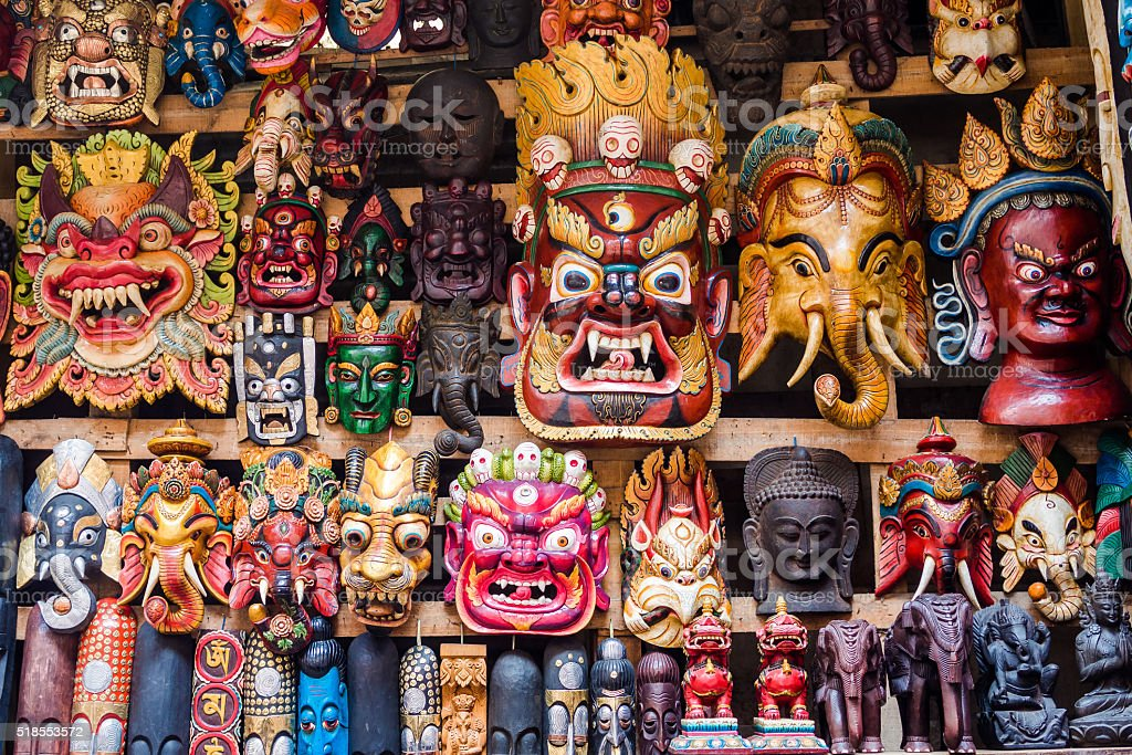 Colorful Masks at Street Stall in Kathmandu, Nepal stock photo