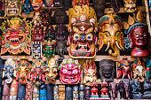 Colorful Masks at Street Stall in Kathmandu, Nepal