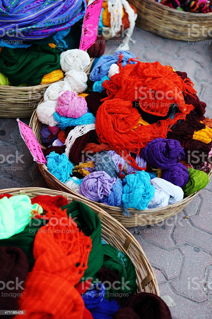 Colorful Mayan scarfs stock photo