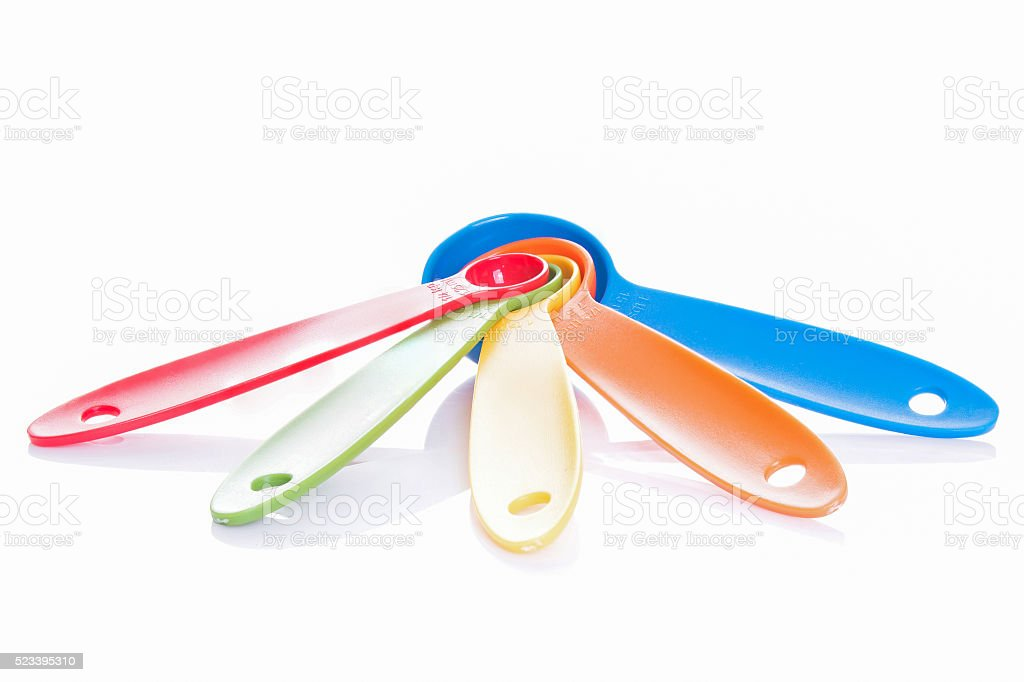 colorful measuring spoons isolated on white stock photo