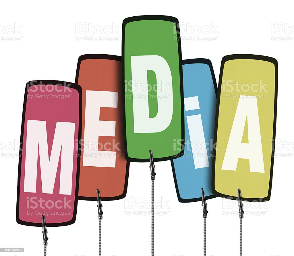 Colorful Media Tag  in Wire Clamp 4 (Clipping Path) royalty-free stock photo