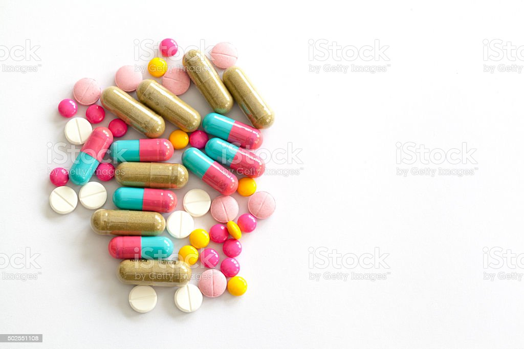 Colorful medications for weight control and diet stock photo