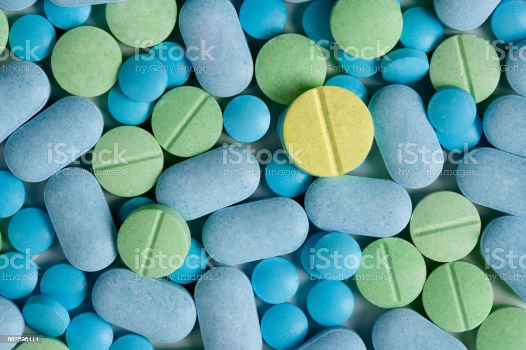 Colorful Medicine Pills And Tablets stock photo