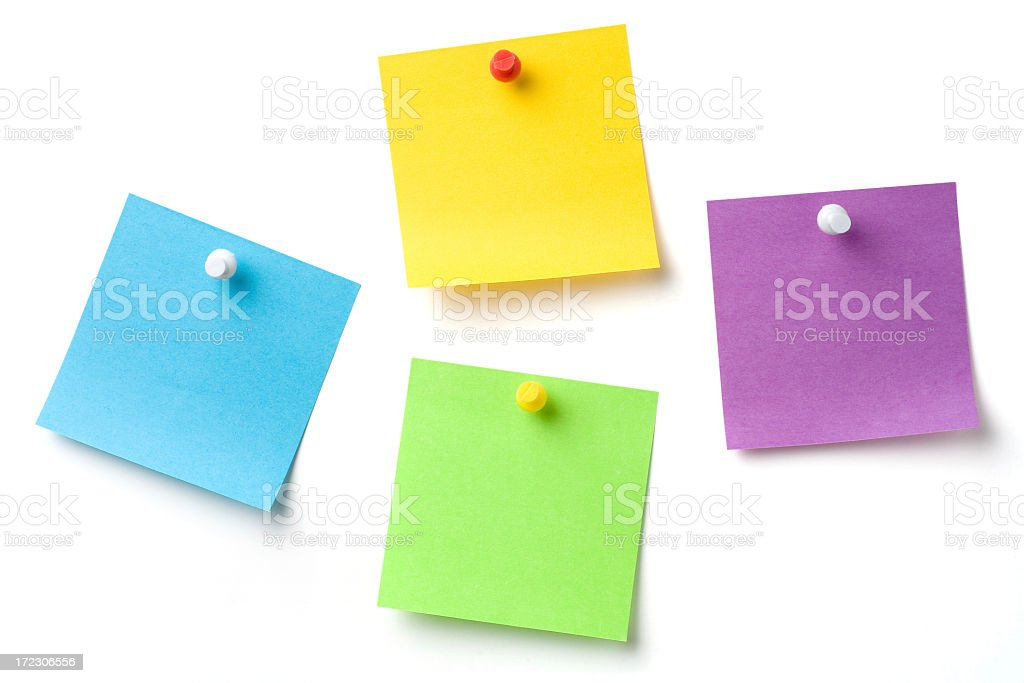 Colorful memo notes with pins on a white background royalty-free stock photo