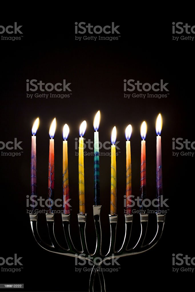 colorful menorah stock photo