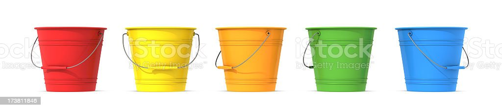 Colorful metal buckets with handle royalty-free stock photo