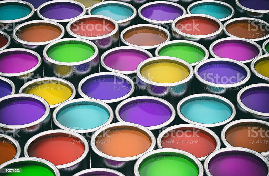 Colorful metal cans stock photo