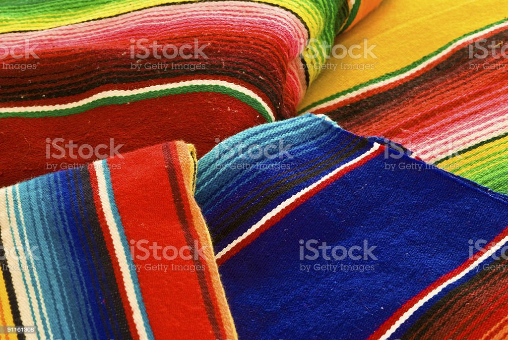 Colorful mexican blankets royalty-free stock photo