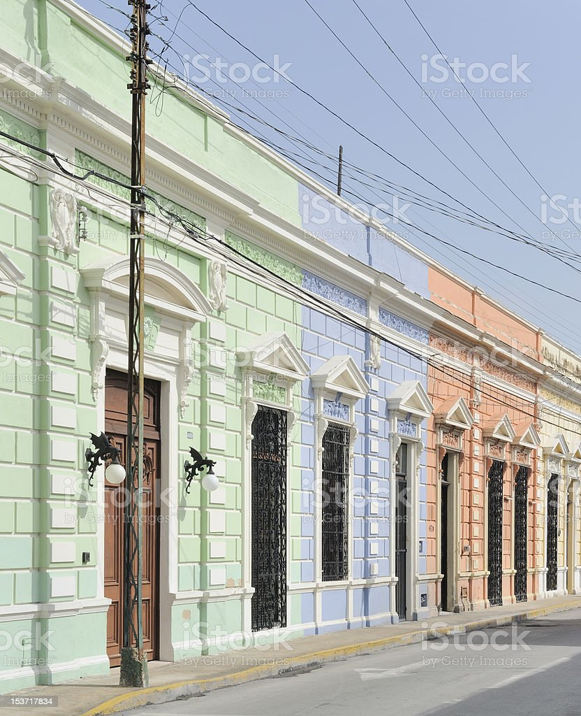 Colorful mexican colonial buildings stock photo