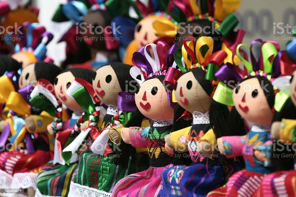 Colorful mexican Dolls stock photo