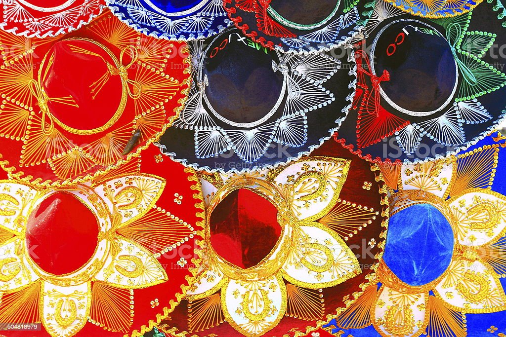 Colorful Mexican Hats souvenirs - Sombreros in Cancun stock photo