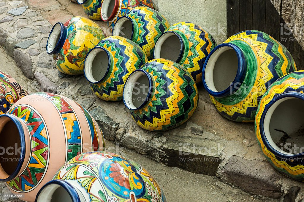 Colorful Mexican Pottery stock photo