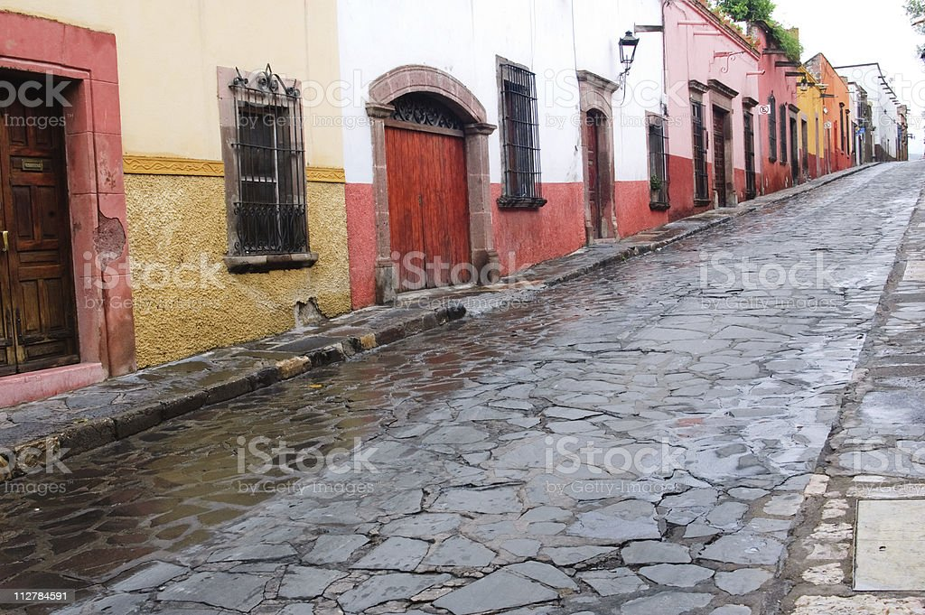 Colorful Mexican town that had just experienced rain stock photo