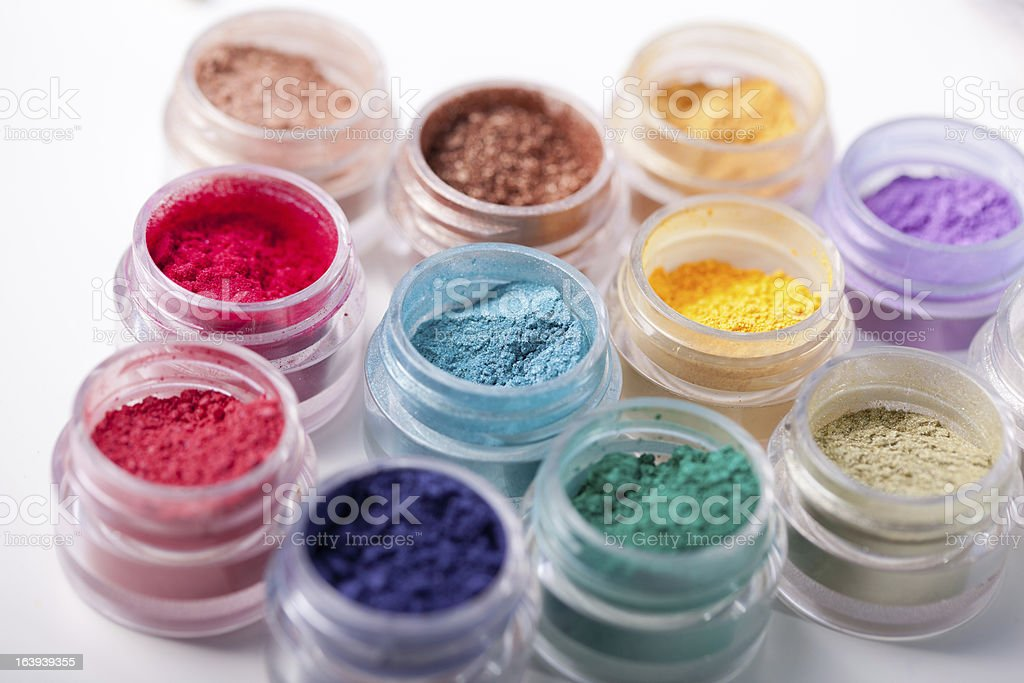 colorful mineral eyeshadows royalty-free stock photo
