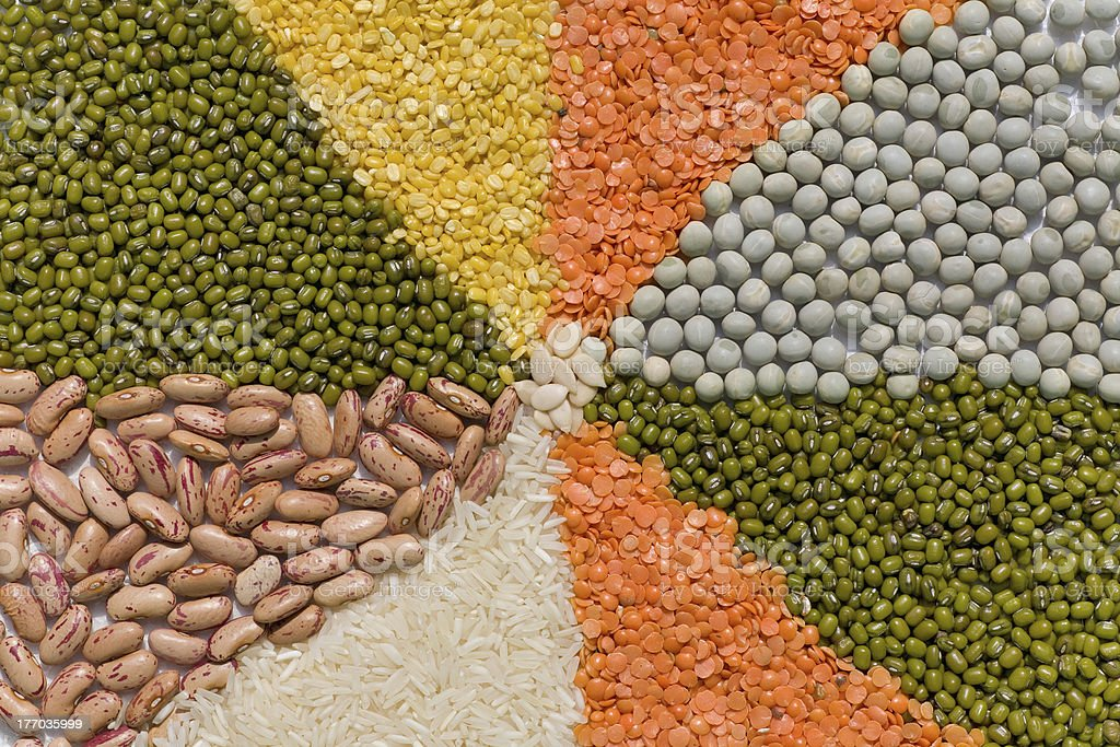 Colorful mix from different dry grains royalty-free stock photo