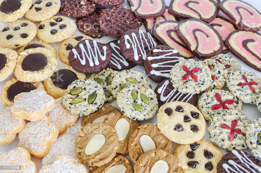 Colorful mix of decorated cookies. royalty-free stock photo