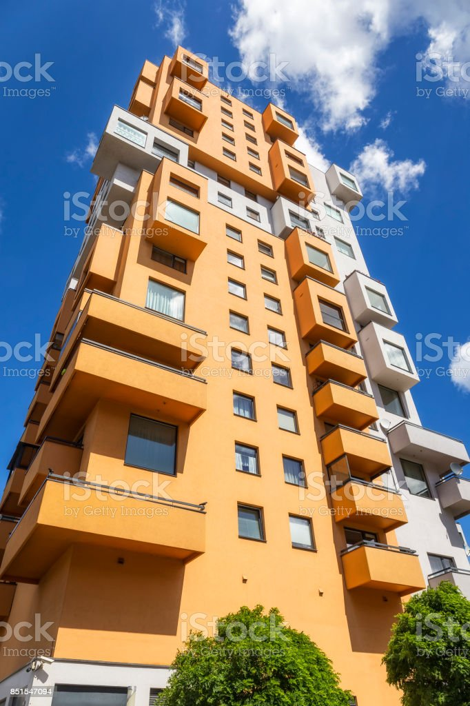 Colorful modern apartment building stock photo