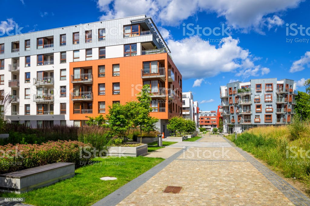 Colorful modern apartment buildings stock photo