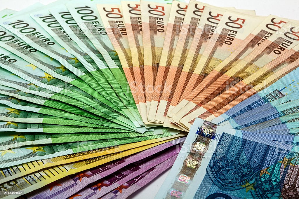 Colorful money fan of several euro notes stock photo