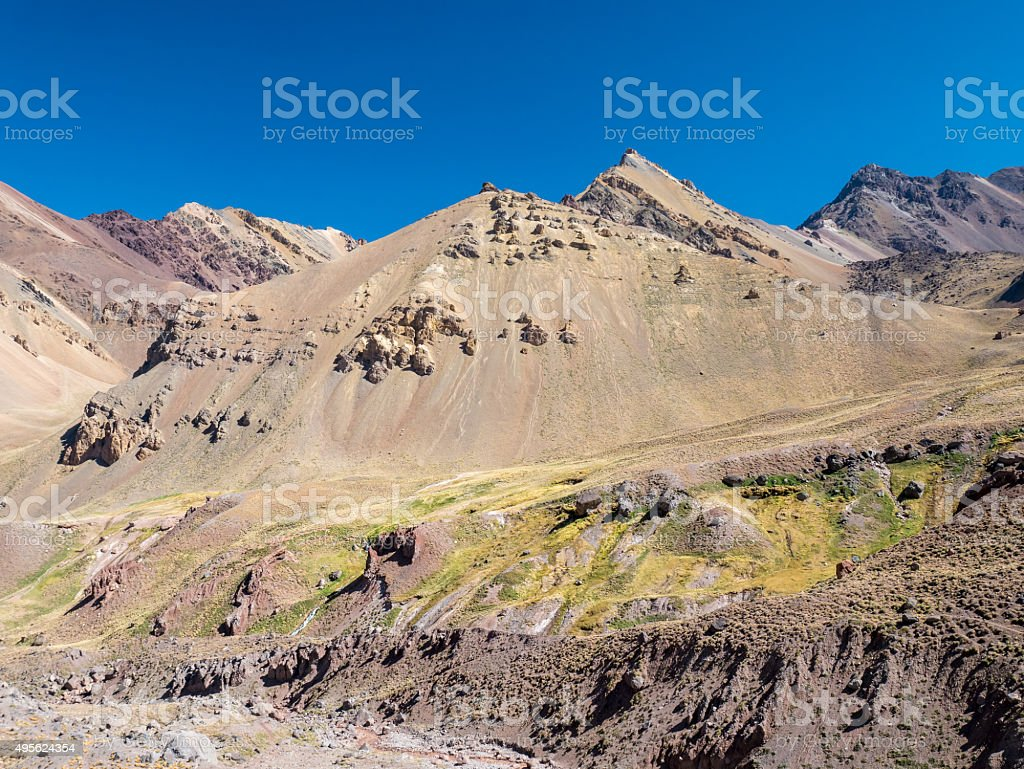 Colorful Montain near the Aconcagua royalty-free stock photo