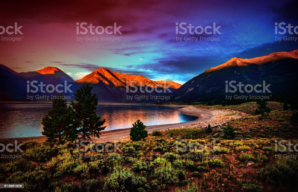Colorful Morning Mountain Sunrise stock photo