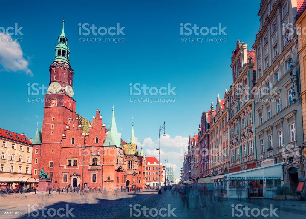 Colorful morning scene on Wroclaw Market Square with Town Hall stock photo