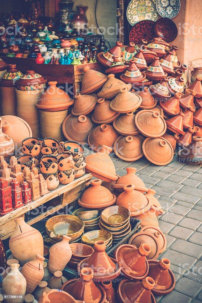 Colorful Moroccan Ceramics, Tajine Pots in Marrakesh Morocco, Africa stock photo