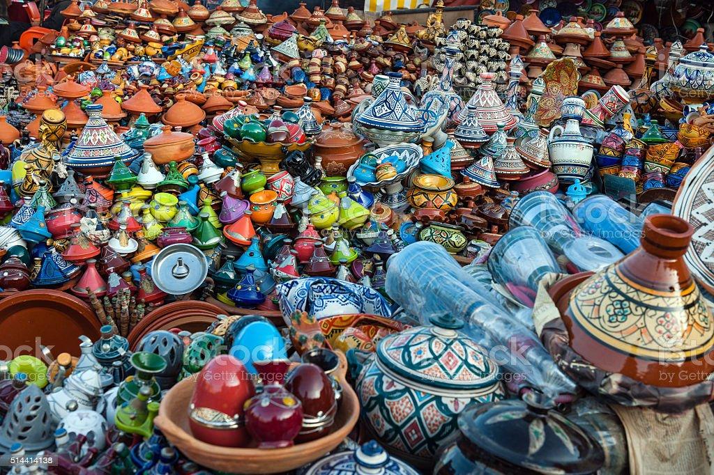 Colorful Moroccan Ceramics, Tajine Pots, Meknes, Morocco, Africa stock photo