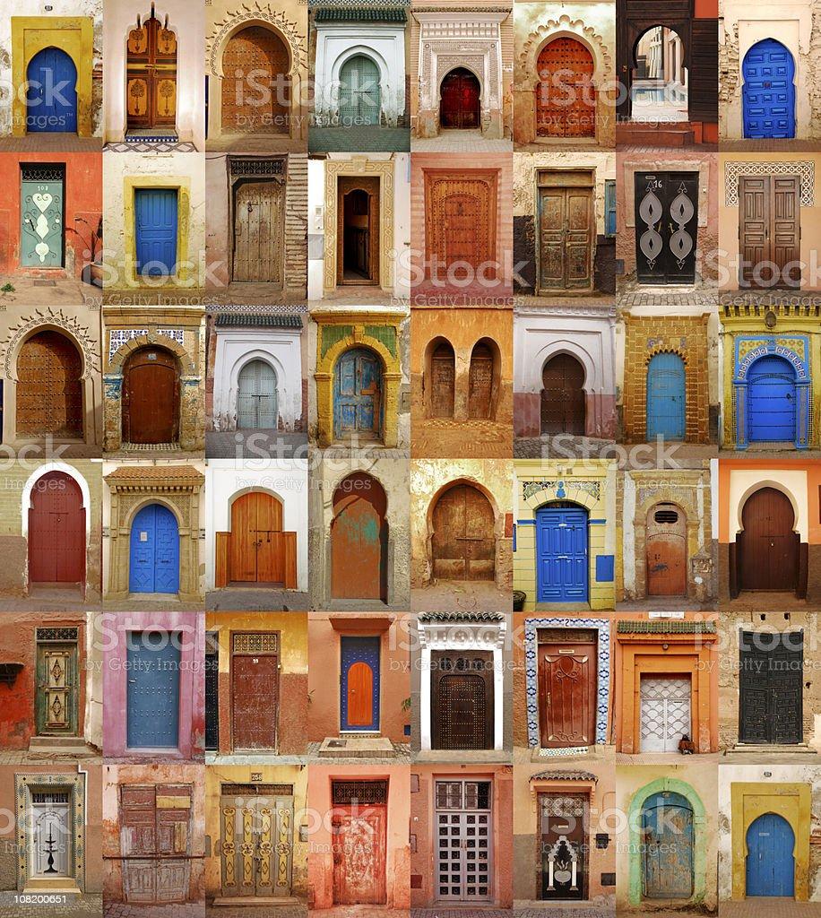 Colorful Moroccan doors stock photo