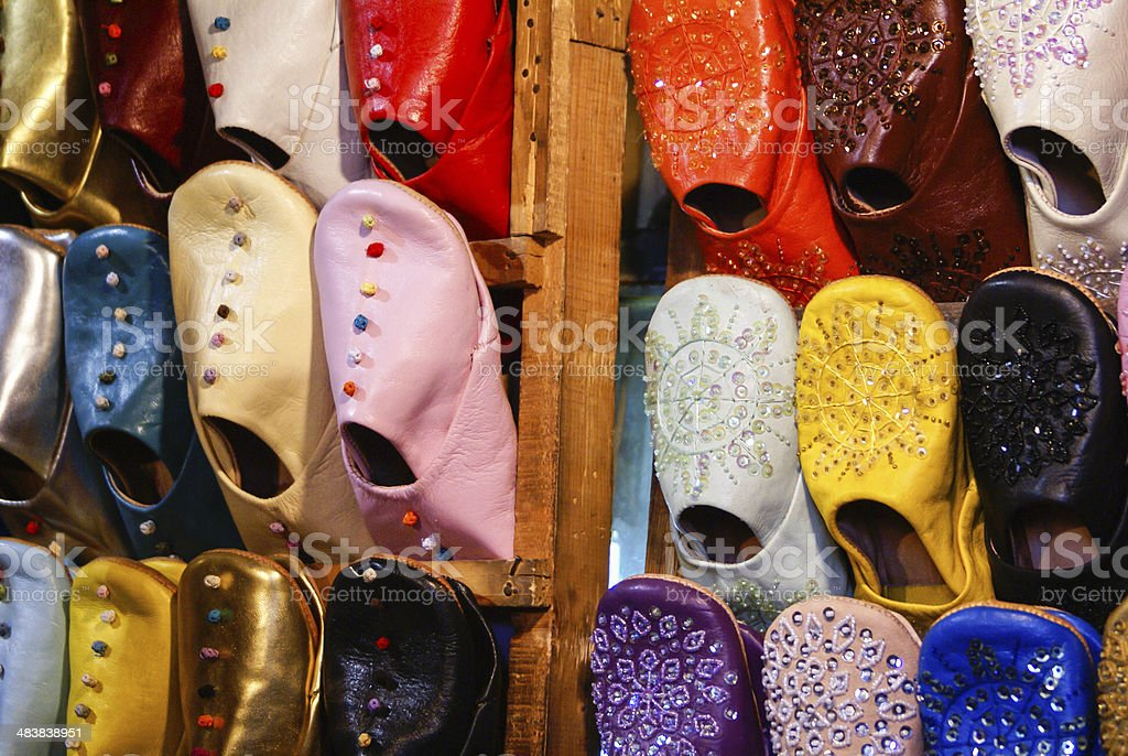 Colorful moroccan handmade leather shoes royalty-free stock photo