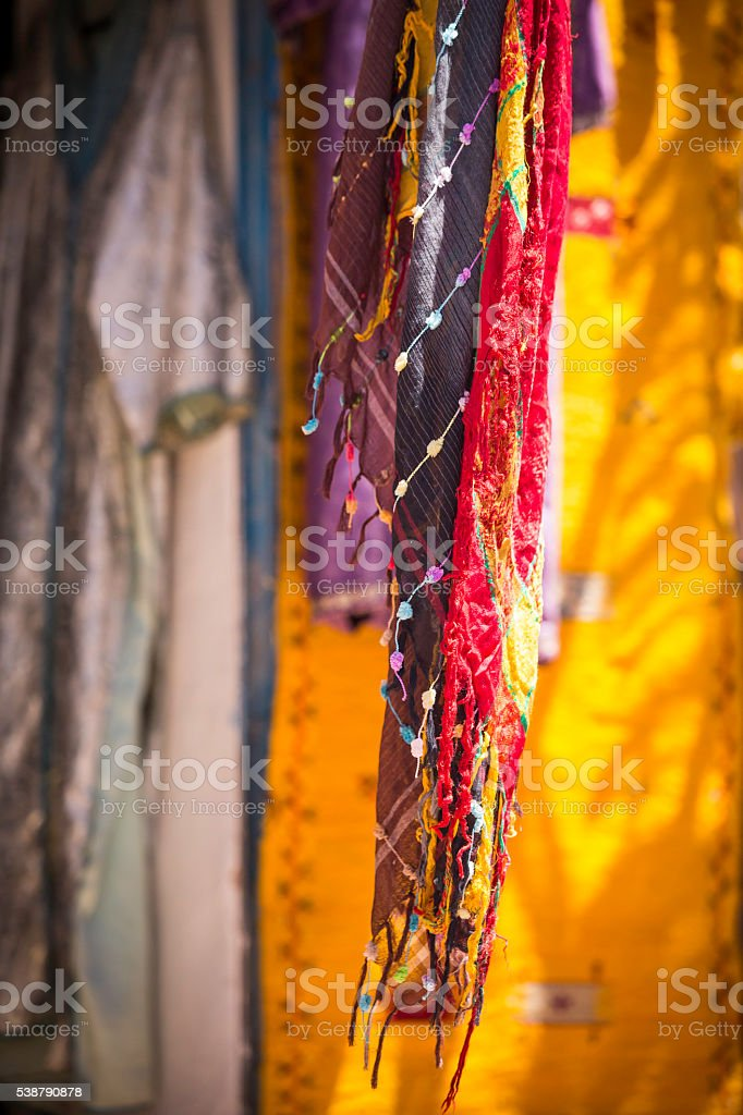 colorful Moroccan scarfs stock photo