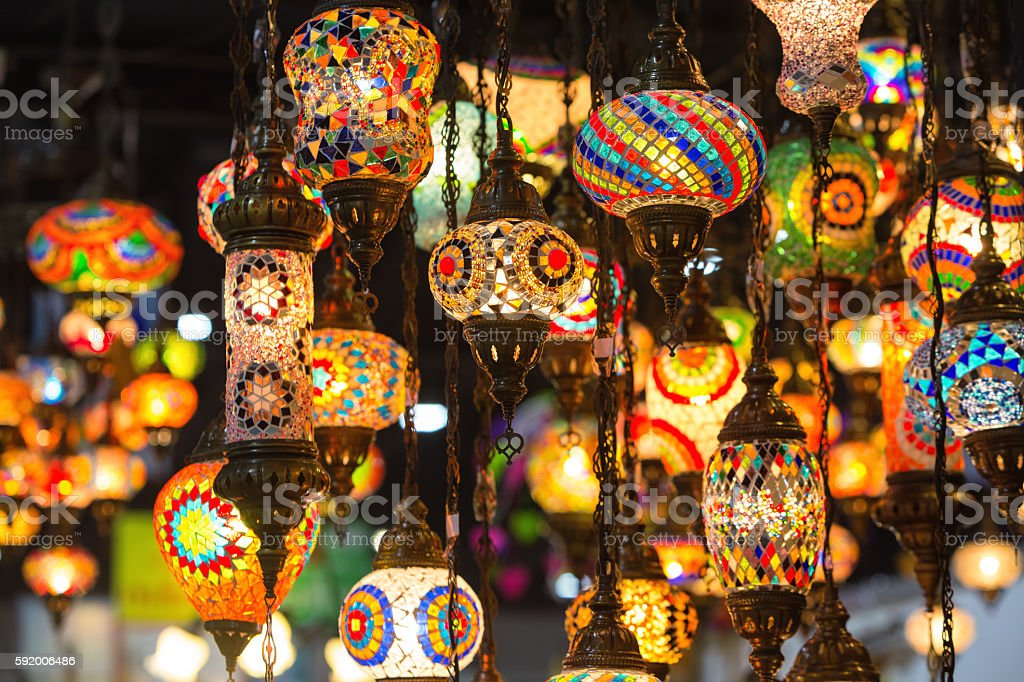 Colorful Moroccan style lanterns stock photo