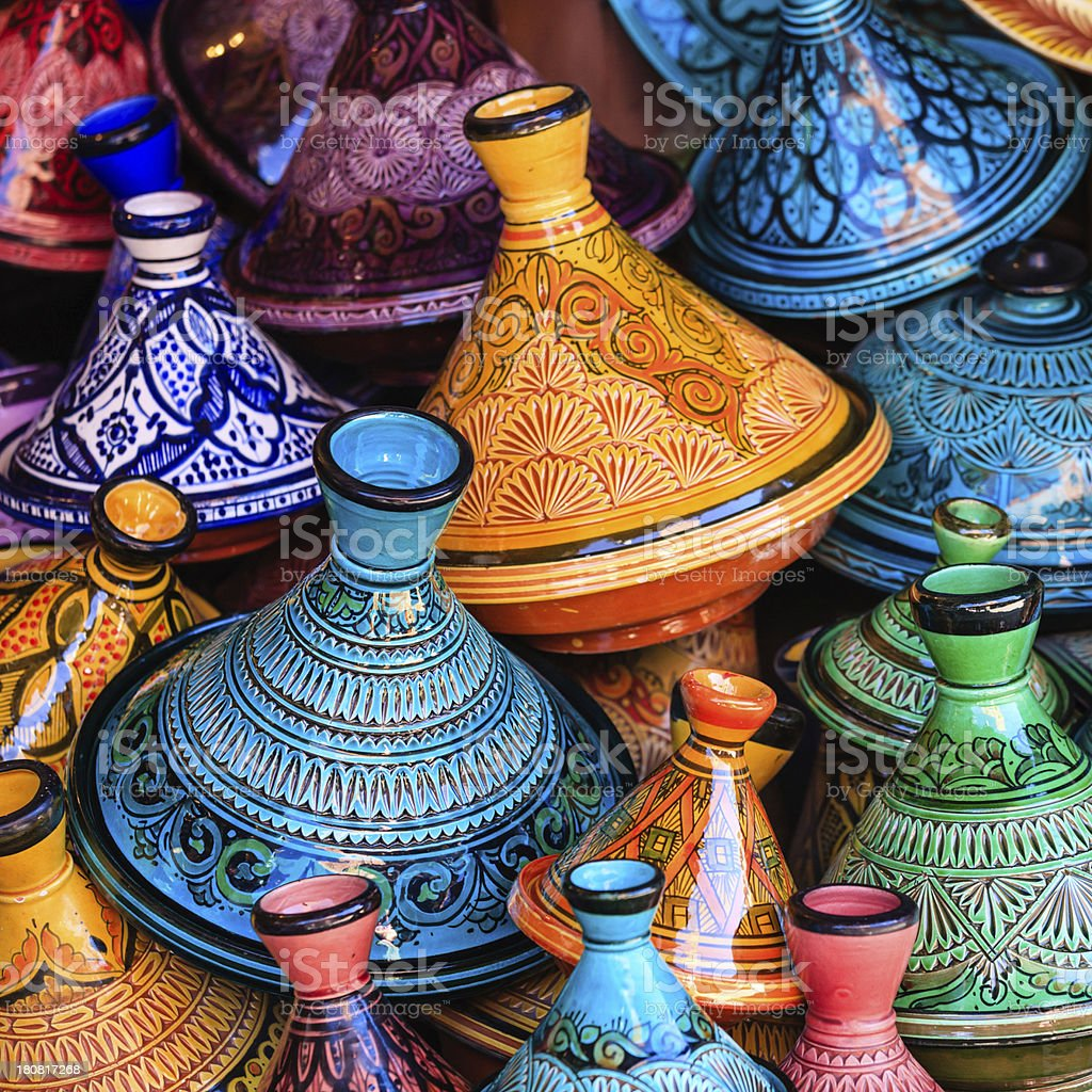 Colorful Moroccan tajine pots at a souk in Marrakech stock photo