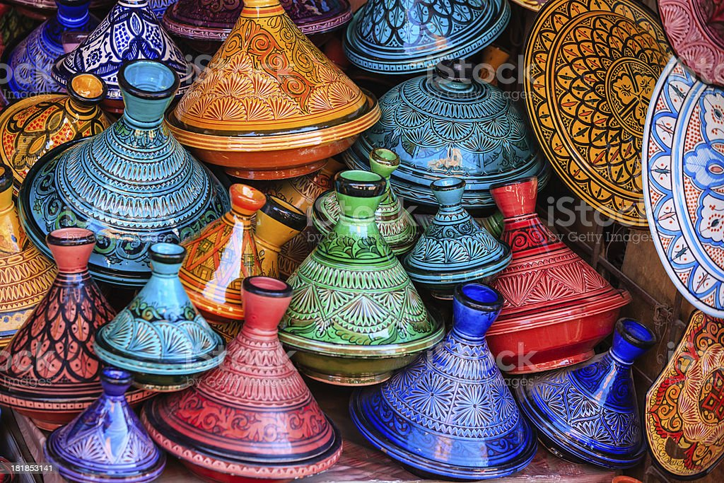 Colorful Moroccan tajine pots at a souk in Marrakech stock photo